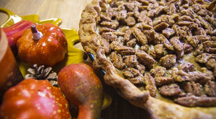 Pumpkin Rum pie with Candied Pecans