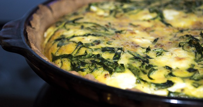 Spinach and Leek Quiche with Sheep Cheese