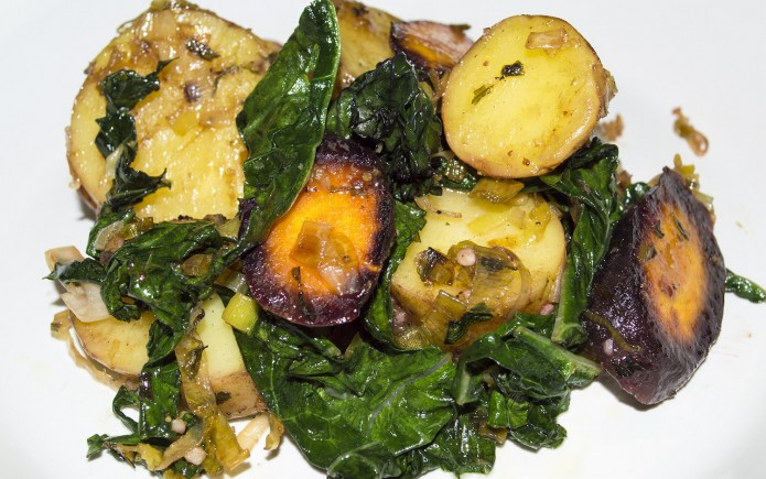 wilted kale and potato salad