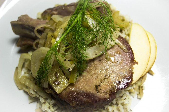 Pork with fennel sage apples