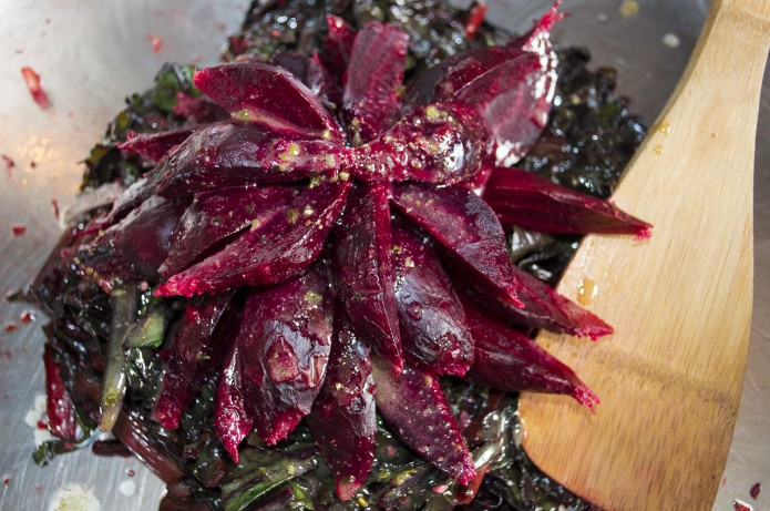 Beet Greens and Roasted Beets